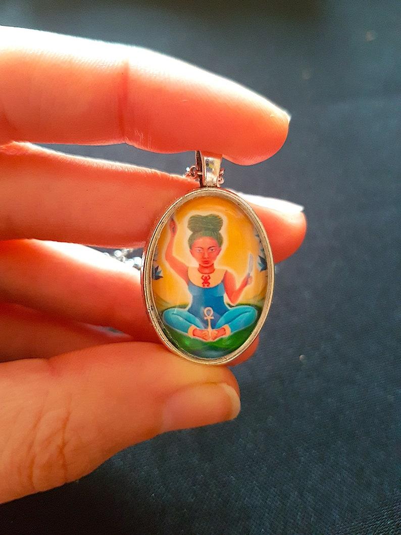 midwife gift Heket pendant original art print hypoallergenic necklace wcabochon FREE UK p/&p Egyptian Goddess Heqet Goddess of birth