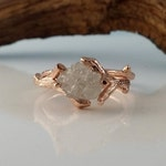 Handmade Twig Bridal Set with Rough Uncut Diamond in 14k or 18k Gold, Engagement Ring, Hand Sculpted by Dawn Vertrees