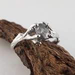 Salt & Pepper .91ct Rose Cut Oval Natural Diamond set in 14k White Gold Twig Engagement Ring by Dawn Vertrees