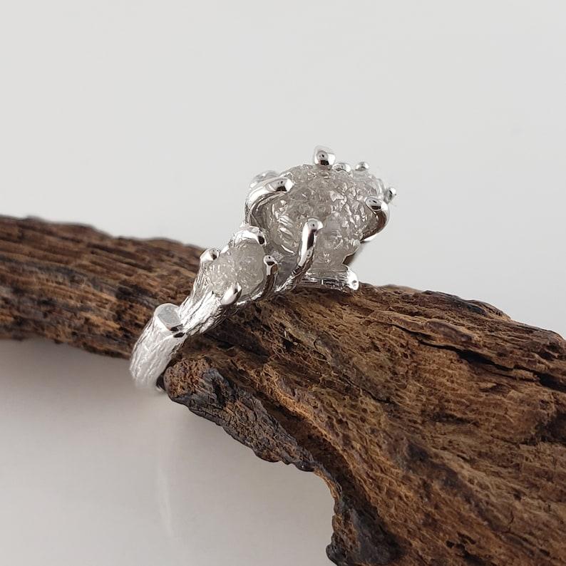 Three Raw Diamond White Gold Engagement Ring Rough Gold image 0