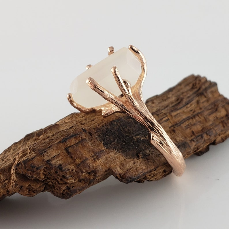 5ct Hand Cut Moonstone 14k Rose Gold Twig Engagement Ring image 0