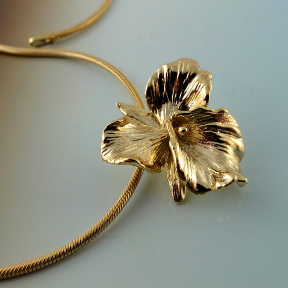 Cattleya orchid pendant in 14k yellowwhite or rose gold by etsy image 0 aloadofball Choice Image