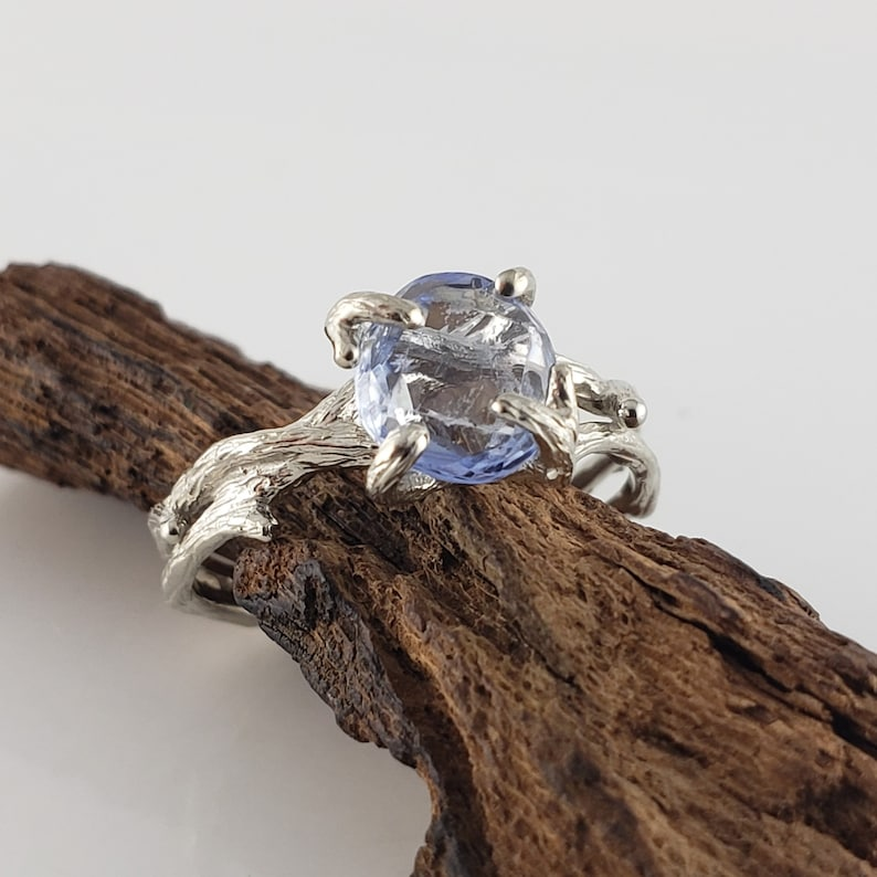 1.3ct Hand Cut Blue Sapphire Double Twig Setting Engagement or image 0