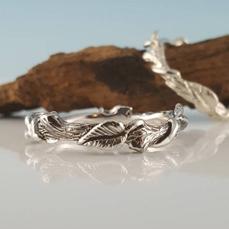 Hand Sculpted Silver Leaf Ring  Vine Ring  Sterling Silver image 0