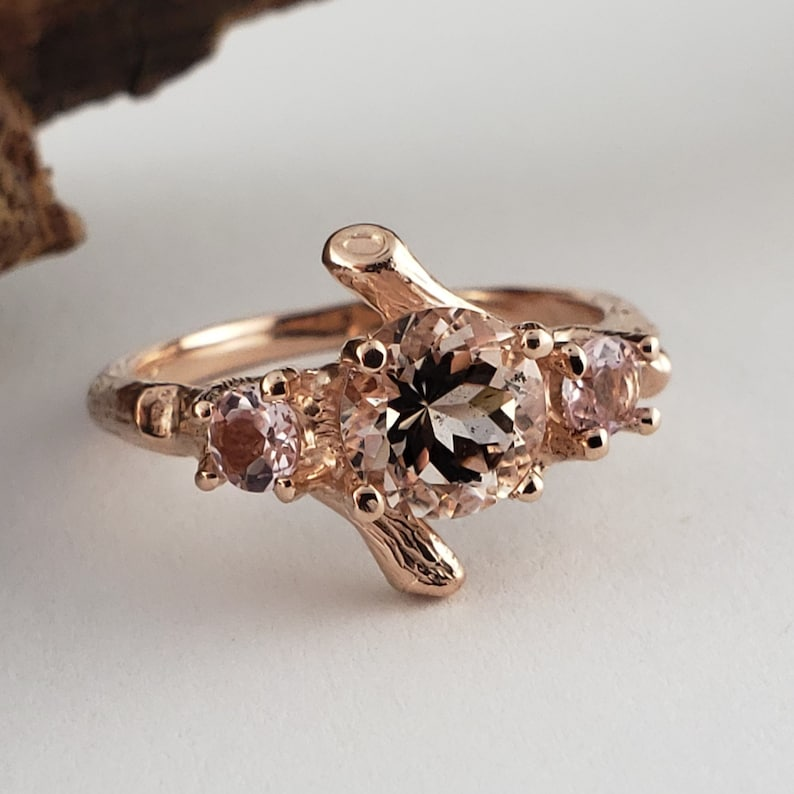 3 Stone Pink Morganite Ring  Morganite Ring Set  Morganite image 0