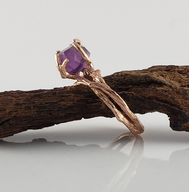 1.5ct Hand Cut Amethyst in 14k Rose Gold Twig Ring Setting image 0