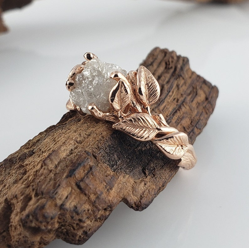 Raw Diamond Engagement Ring  Unique Engagement Ring  Leaf image 0