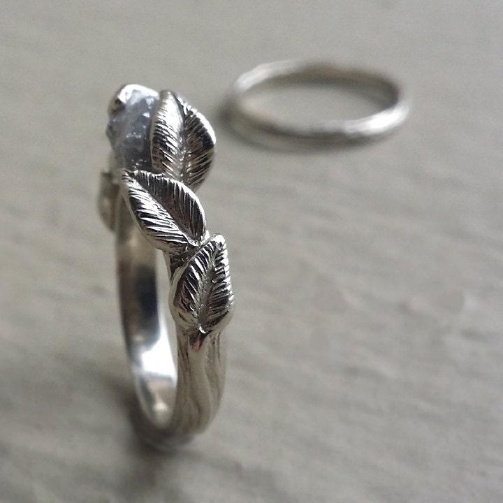 twig engagement ring raw uncut diamond bridal set 14k gold