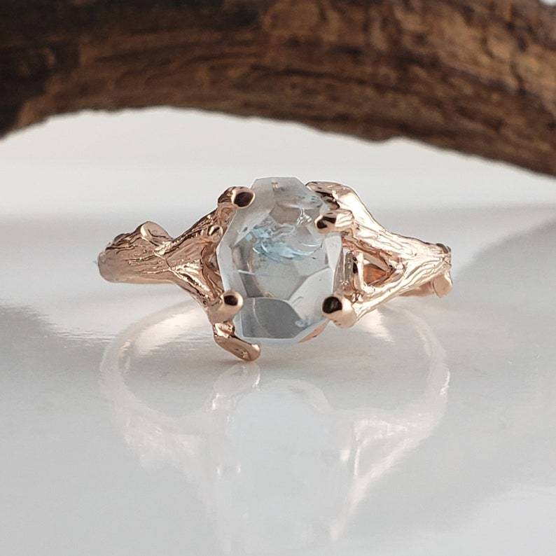 Hand Cut Aquamarine Engagement Ring in 14k Rose Gold Twig Ring image 0