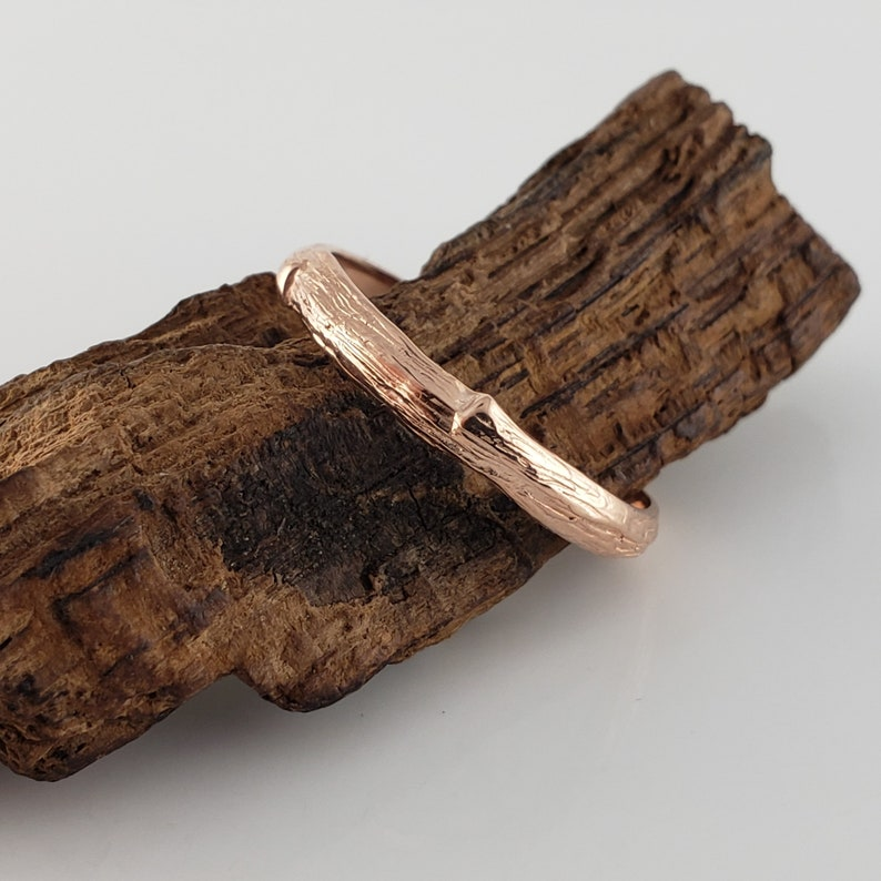 RESERVED LISTING: Double Sized Twig Branch Wedding Band 14k image 0