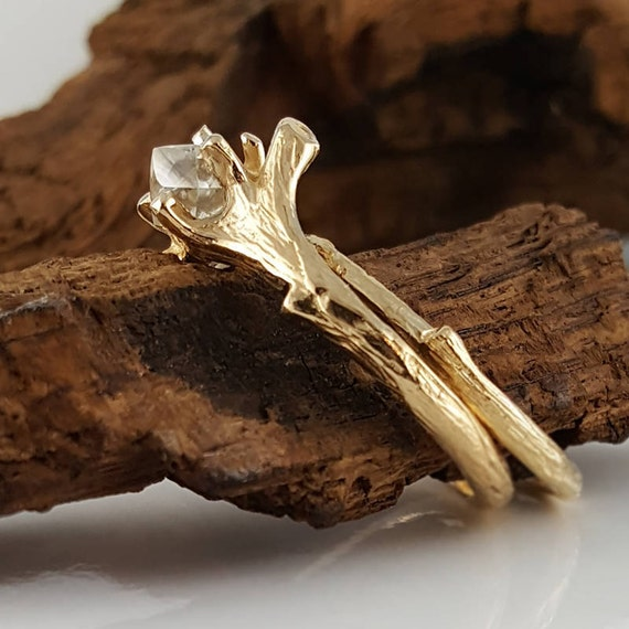 raw diamond twig engagement ring wedding set 14k gold by