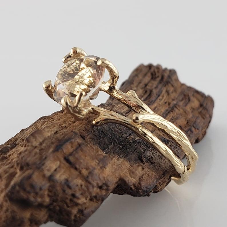 Raw Sapphire Gold Engagement Ring  Ceylon Sapphire Ring  image 0