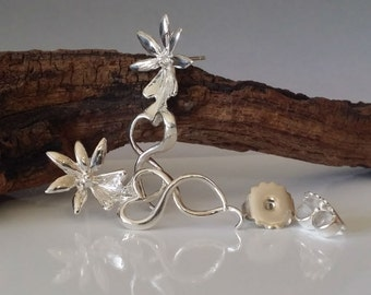 Ghost Orchid Earrings, Sterling Silver, Nature Jewelry, Gifts for Her, by Dawn Vertrees