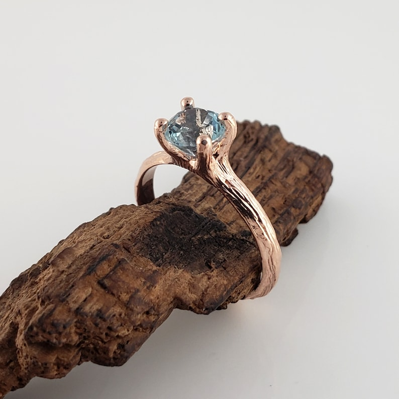 1ct Blue Sapphire Twig Engagement Ring in 14k Rose Gold image 0