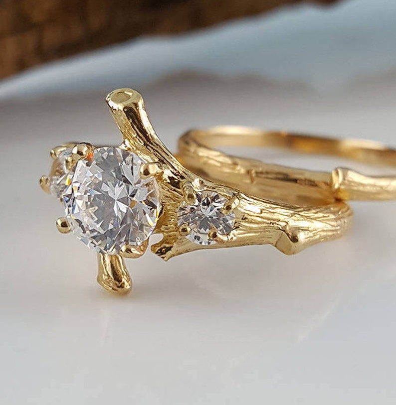 Moissanite Engagement Ring set Hand Made Branch Style Three image 0