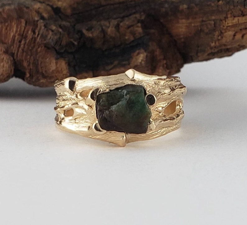 Raw Dark Green Emerald Mens Wedding Band in Gold Rough image 0