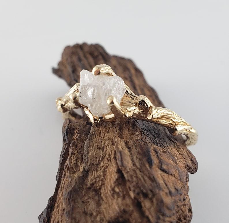 Raw Gold Diamond Engagement Ring  Simple Diamond Ring  Gold image 0