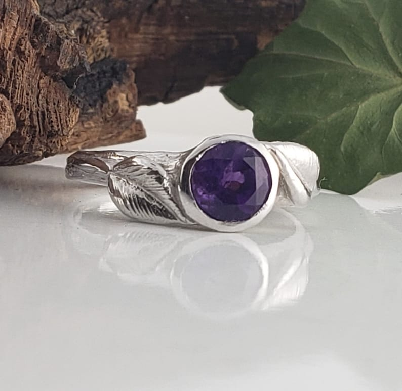 6.5mm Round Amethyst Engagement Ring  Leaf and Twig image 0