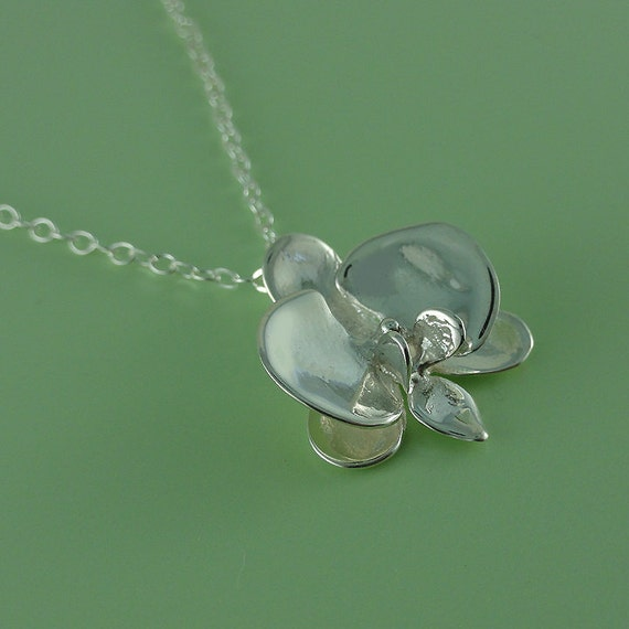 Orchid Trellis New Diamontrigue Jewelry: Phalaenopsis Orchid Charm Necklace In Sterling Silver
