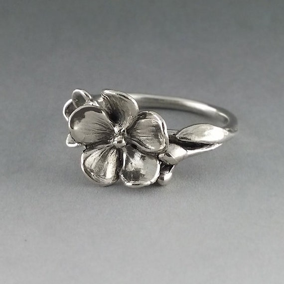 Sterling Silver Flower Ring, Just A Pretty Silver Ring, Floral Ring, Forget Me Not Ring Hand Made By Dawn Vertrees by Etsy