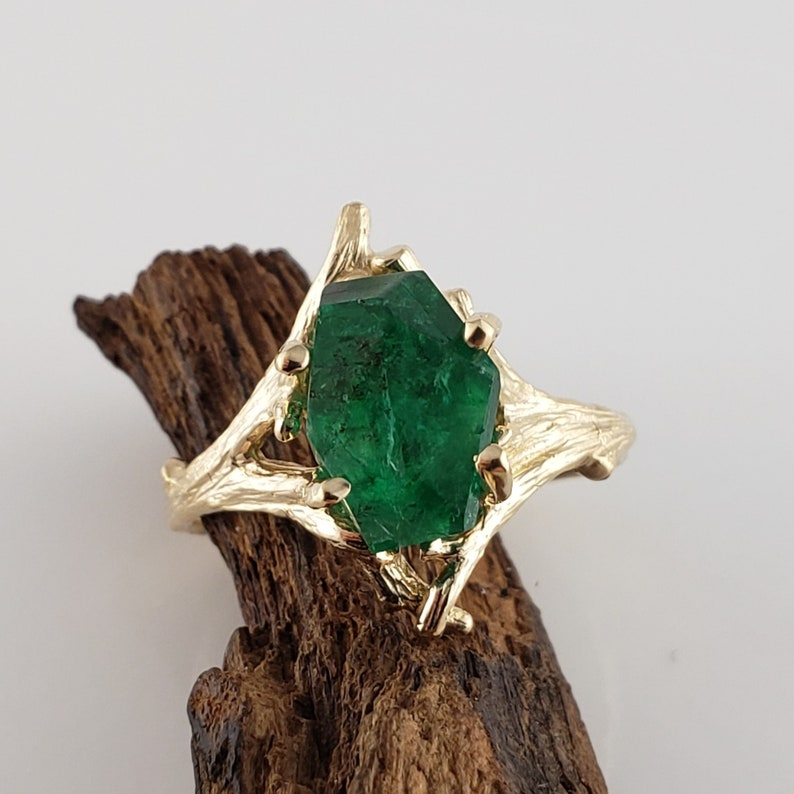 3ct Hand Cut Emerald Engagement Anniversary Ring in a 14k image 0