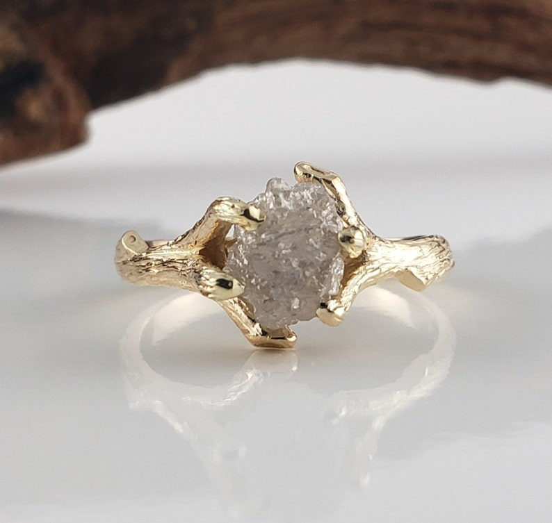 Handmade Twig Engagement Ring with Rough Uncut Diamond in 14k image 0