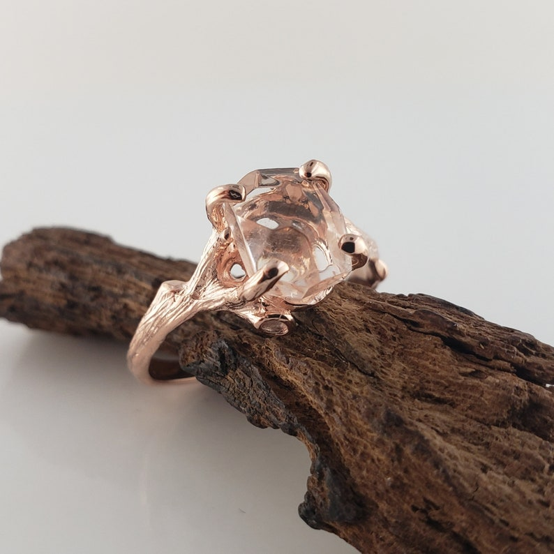 Hand-Cut Morganite Twig Engagement Ring 14k Rose Gold image 0