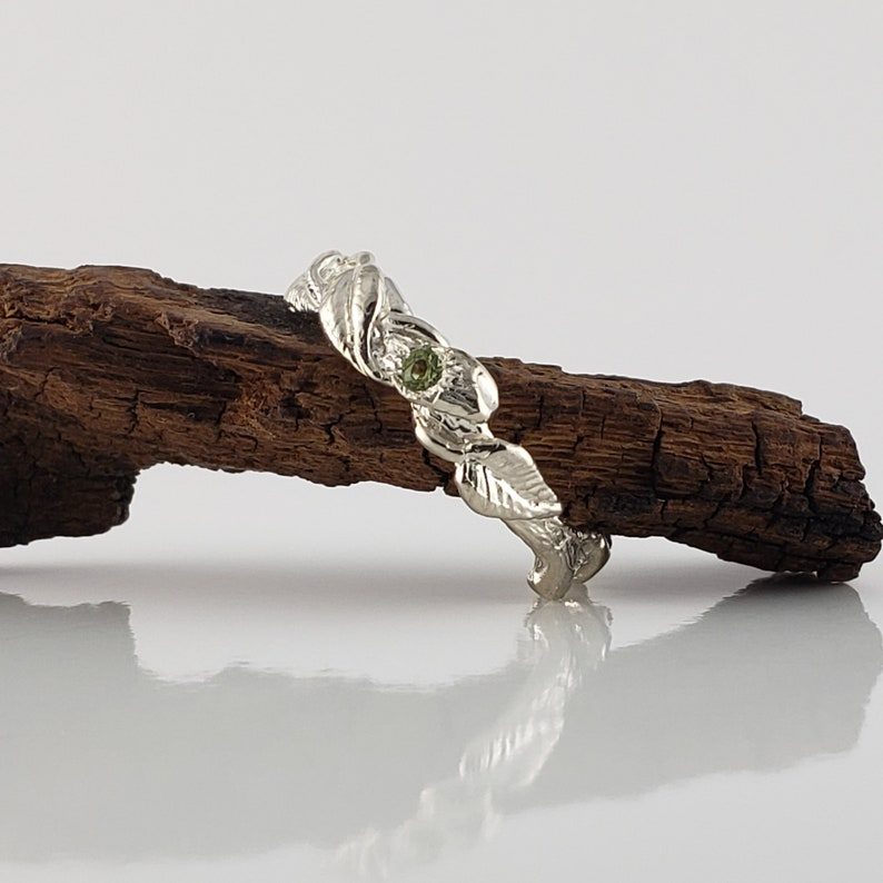 The Maddox Ring Peridot Gemstone Hand Sculpted Leaf Twig and image 0