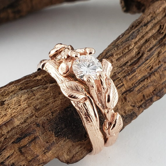 1/2 Carat Round Faceted Moissanite Leaf And Twig Bridal Set, Engagement Anniversary Ring By Dawn Vertrees by Etsy