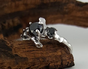 Black Diamond Twig Engagement Ring, 3 Black Diamond Solitaire Ring, Hand Sculpted by DV Jewelry Designs