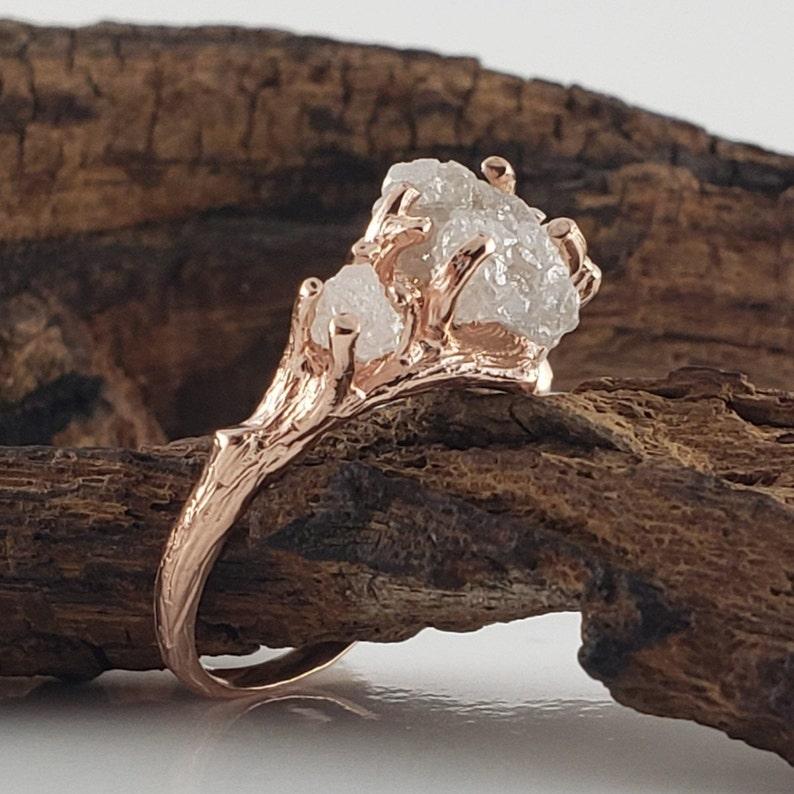 Rough Diamond Opal Engagement Ring  Raw Diamond Ring  3 image 0