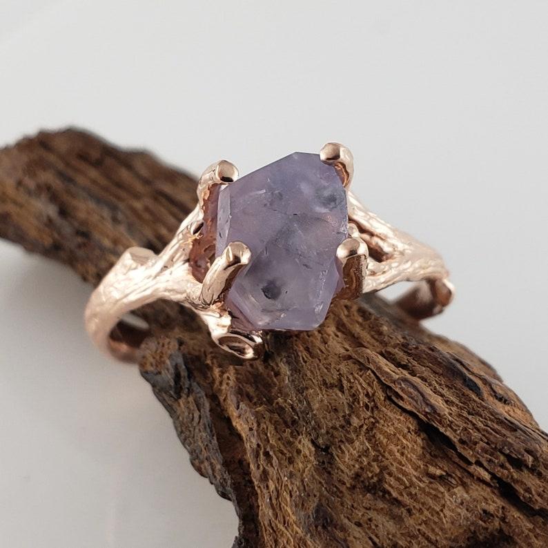 3.5 ct Hand Cut Purple Sapphire Twig Design in 14k Rose Gold image 0