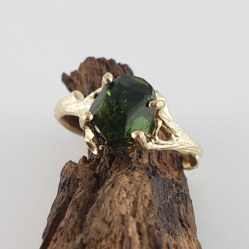Gold Raw Tourmaline Engagement Ring  Raw Crystal Ring  image 0
