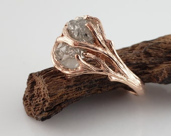Rough Diamond Twig Engagement, Rose Gold Branch Ring - Anniversary Ring- DV Jewelry Designs