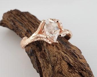 Raw Uncut Herkimer Crystal Diamond Engagement Ring in 14k Rose Gold - Ring Setting - Raw Diamond Ring