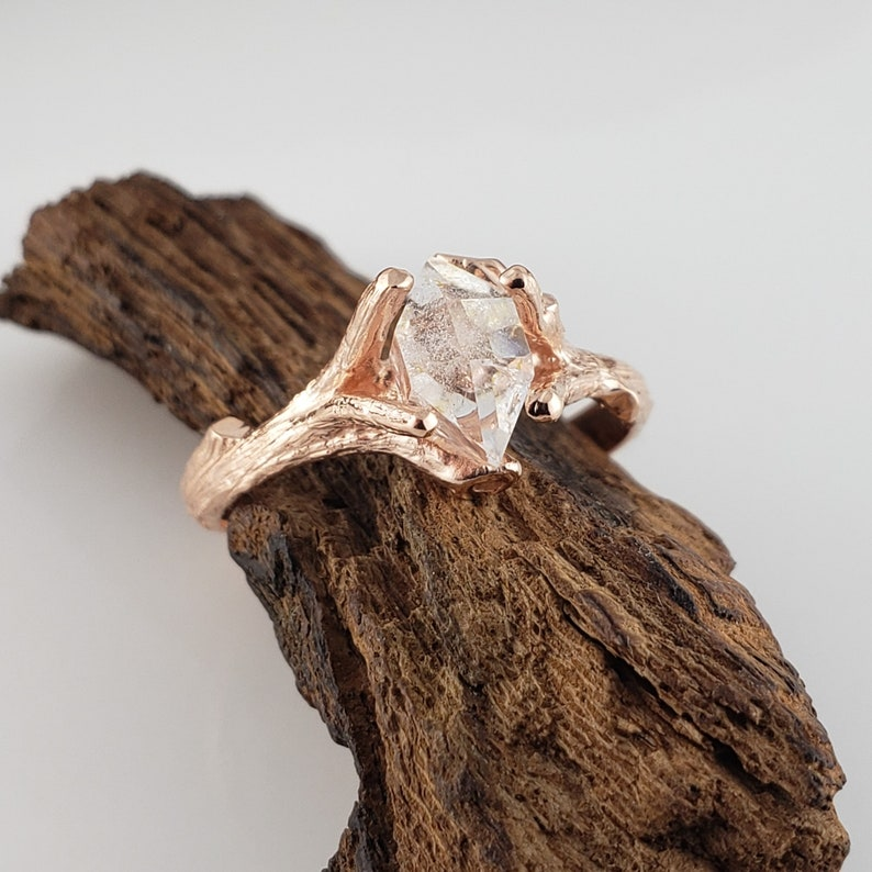1.2ct Herkimer Diamond in 14k Rose Gold Twig Engagement Ring image 0