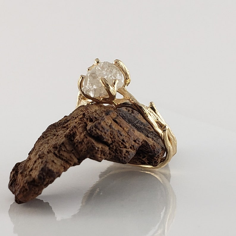 Raw Diamond Engagement Ring  14k Yellow Gold Raw Wedding image 0
