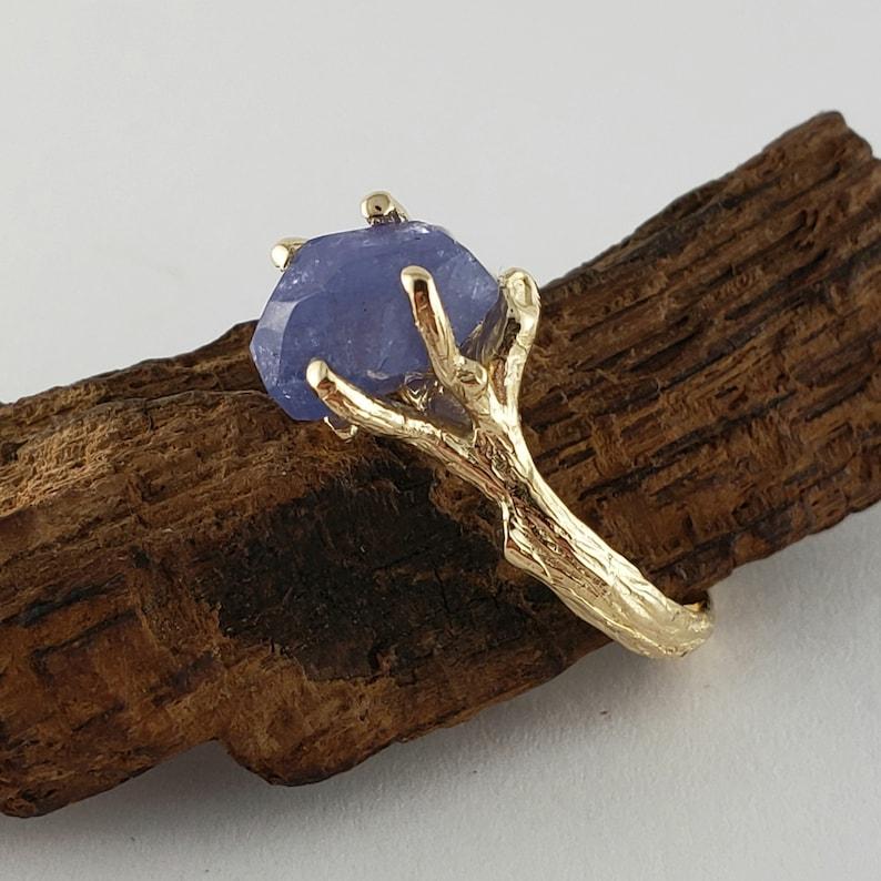 Yellow Gold Raw Tanzanite Ring  Gemstone Engagement Ring  image 0