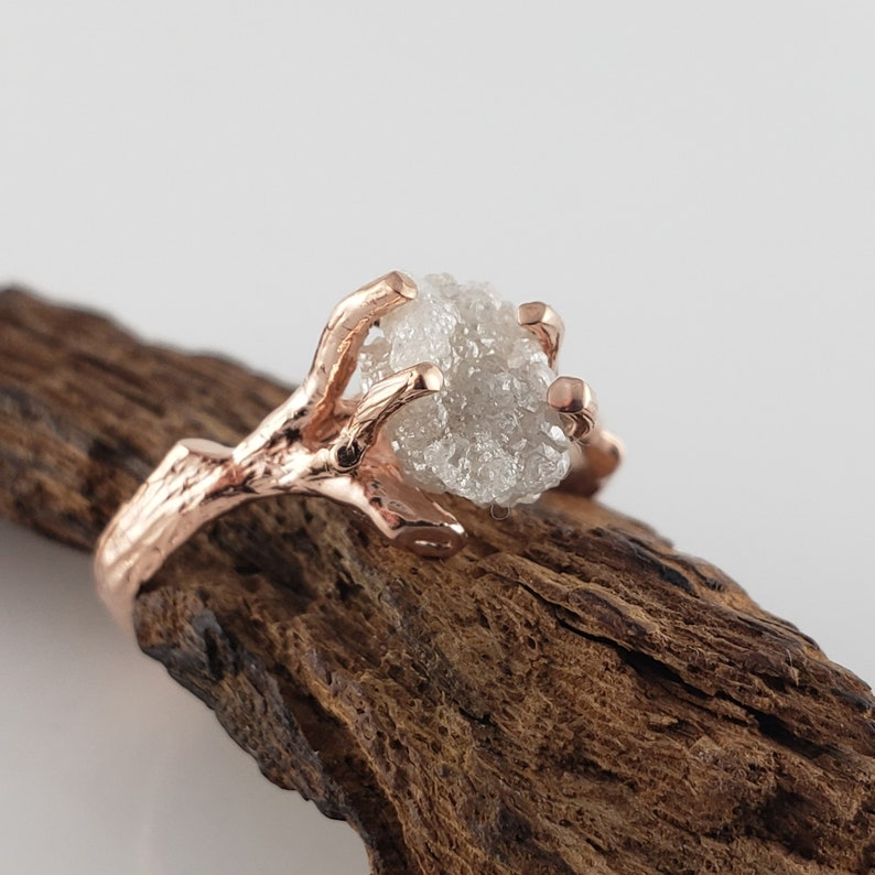 1.73 ct Raw Uncut Rough Diamond in 14k Rose Gold Twig image 0