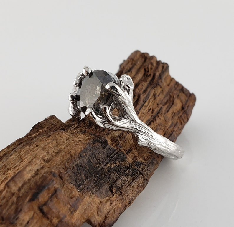 1.19ct Oval Diamond  Salt and Pepper Engagement Ring  Unique image 0
