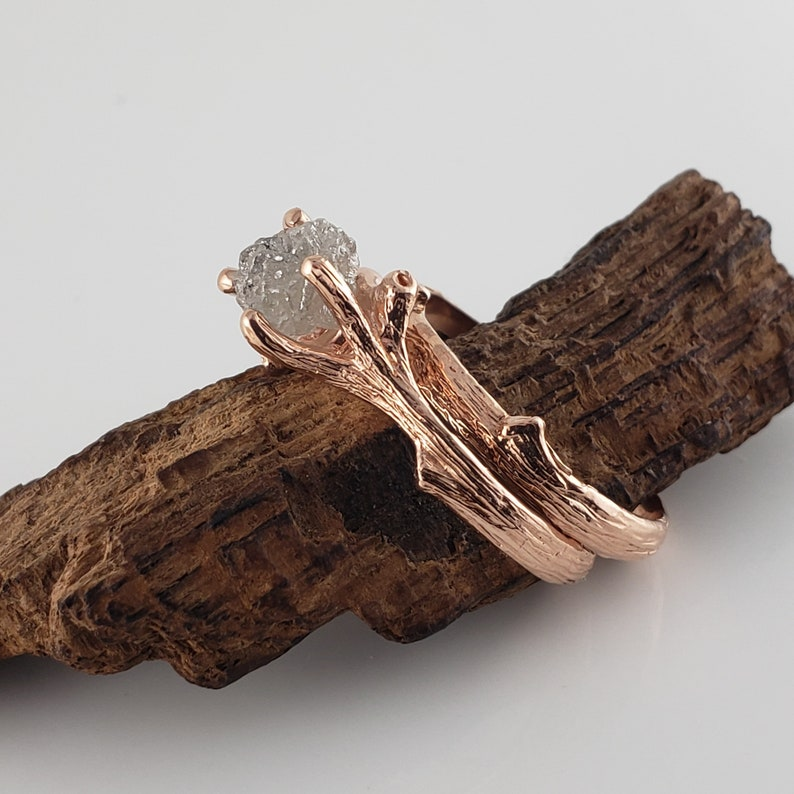 14k Rose Gold Rough Diamond Engagement Ring Twig and Leaf image 0