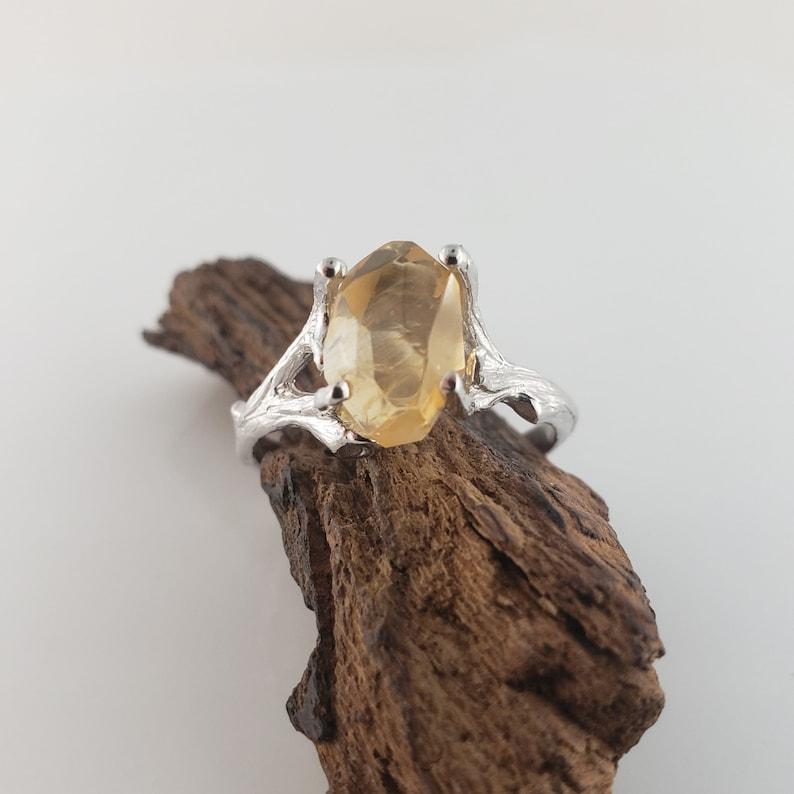 3ct Hand Cut Yellow Citrine Gemstone Twig Engagement Ring  image 0