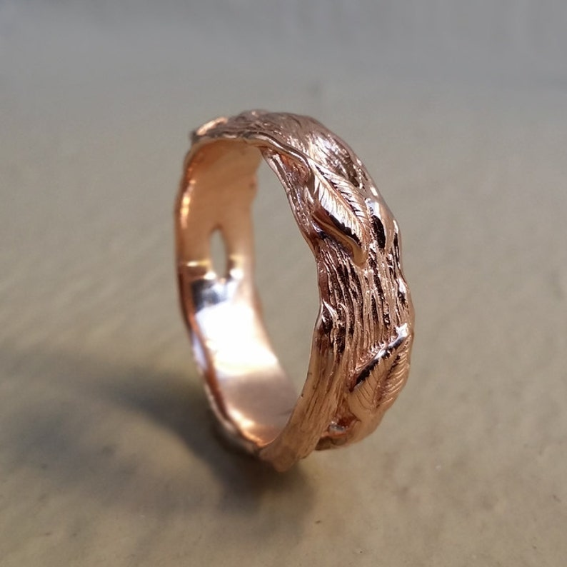 Twig Wedding Band Gold Wedding Bands Leaf Band Twig Ring image 0