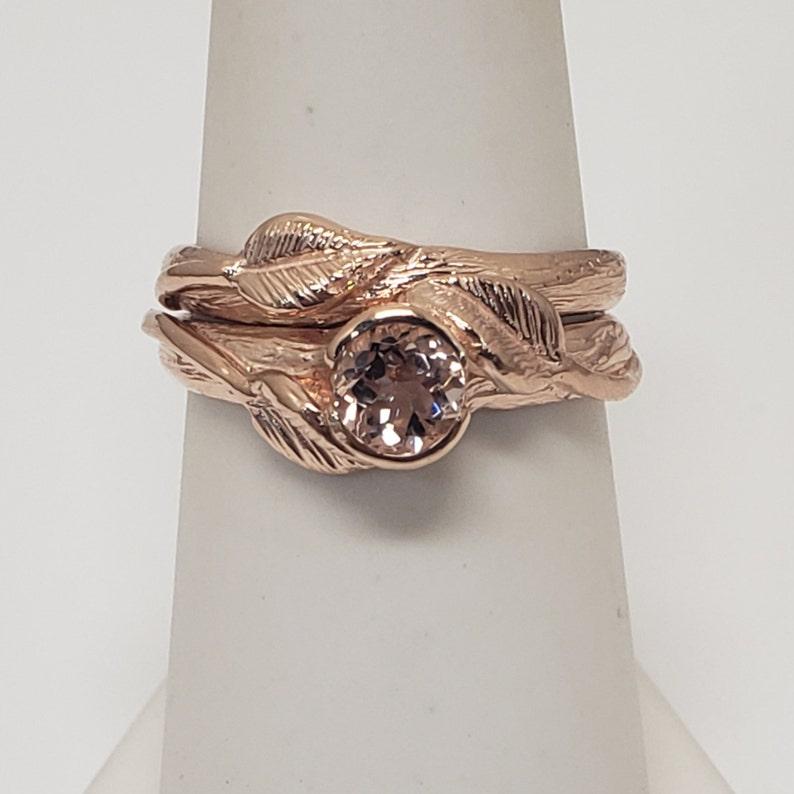 Rose Gold Leaf Engagement Ring  Pink Morganite Ring  image 0
