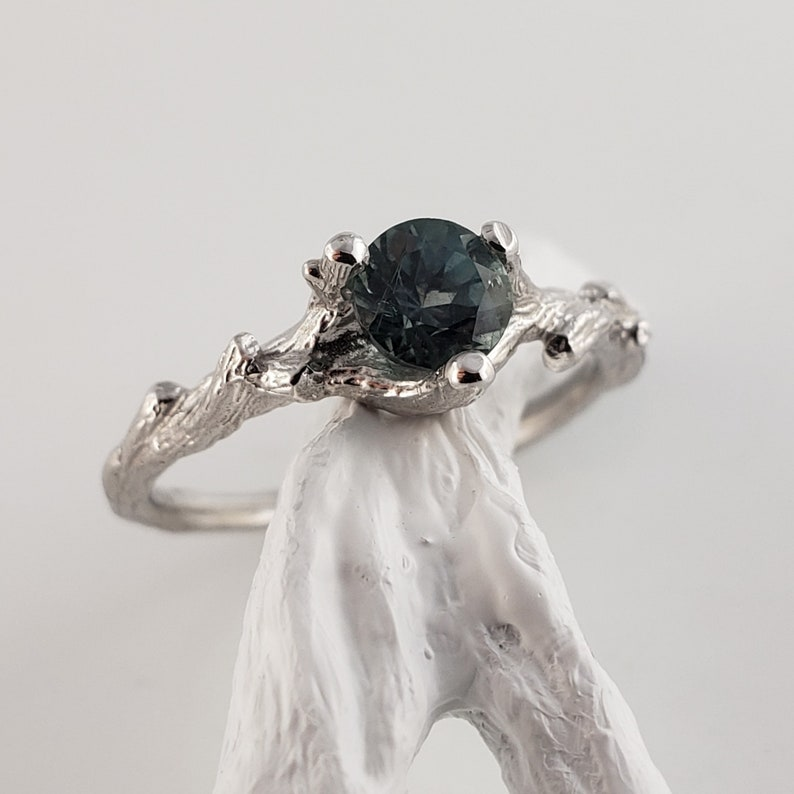 Teal Montana Sapphire Twig Engagement Ring  14k White Gold image 0