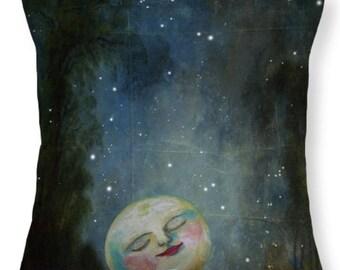 Dream PILLOW Moon Pillow Moon Cushion Space Planet Pillow Annabelle Original Fairytale Art for the Romantic Home GhosTales
