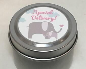 Elephant Mama and Baby,  Baby Shower Favor, Sweet Baby Girl, Custom, 2 ounce Metal Tin
