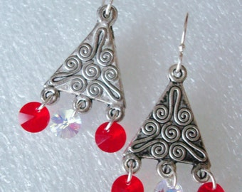 Silver and Swarovski Red Earrings