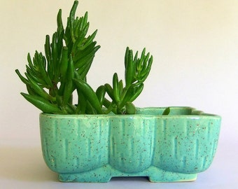 Vintage Upco Turquoise Blue Succulent Cactus Planter - Bow Shape, Mid Century Indoor Garden, Speckled, Ceramic, made in USA, Gardener Gift
