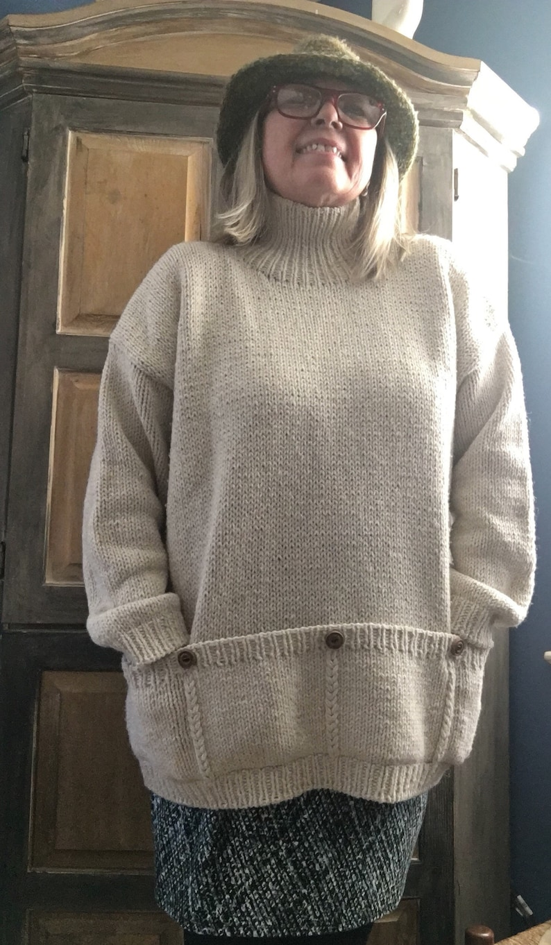 Size XL1X of Recycled Fabrics Amano UK Oversized Ivory Tunic Sweater With Allaround Pockets